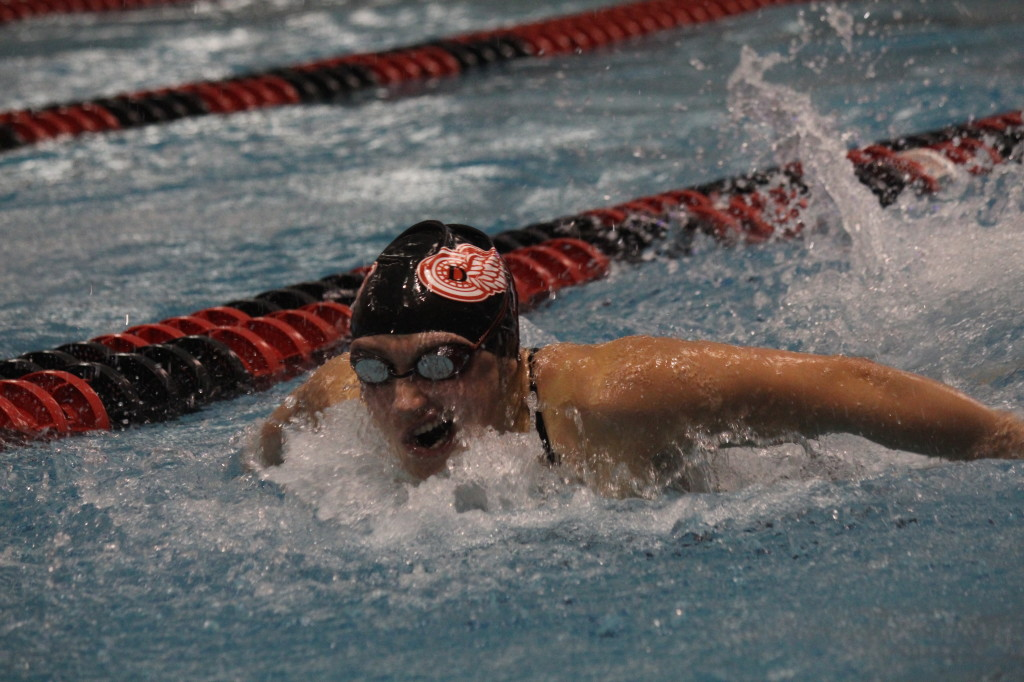 A Big Red swimmer fights her way to the finish.