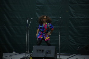 "Ephraim Abocado '14, adds some sass while on stage for the ""Amateur Drag Show"" hosted by Outlook during Relay for Life."