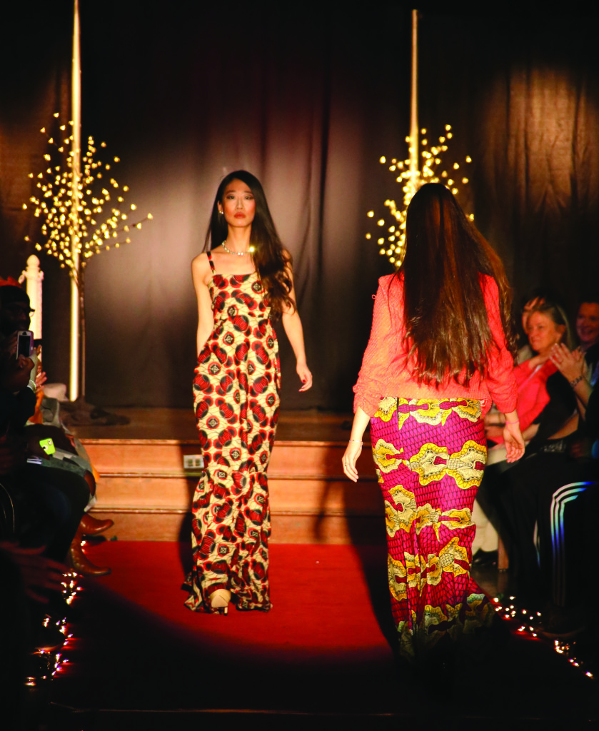 "Lucy Yang '16 works the runway at the ""Beauty, Race, and Culture"" fashion show in the Roost."