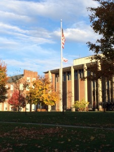 A Wingless Angel flag hung from the flag pole on the academic quad on November 3, 2013. Shortly after this photo was taken (8:30am) the flag was removed.
